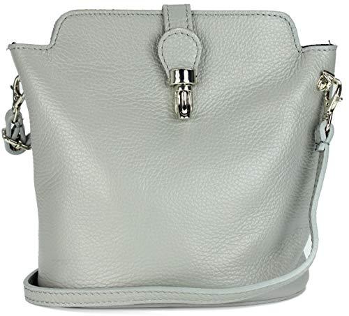 Belli italienische Ledertasche Damen Umhängetasche Handtasche Schultertasche in hellgrau - 18x20x8 cm (B x H x T)