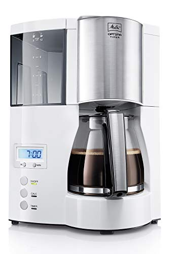 Melitta Optima Timer 100801 wh, Filterkaffeemaschine mit Glaskanne und Timer-Funktion, Abnehmbarer Wassertank, Weiß