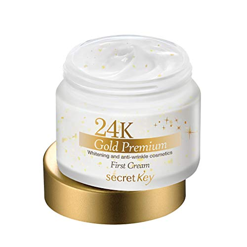 Secret Key - Best 24K Gold Premium First Cream - Anti Aging Gesichtscreme mit Gold, Hyaluronsäure, Kaviar, Kollagen und Royal Jelly gegen Falten und trockene Haut mit Whitening Effekt (Aufhellungseffekt) für Frauen und Männer - Tagespflege - Nachtpflege - Hals- und Dekolletépflege - Hautpflege