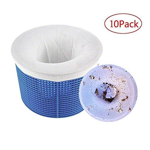 Chnaivy Pool Skimmer Socken Perfekte Filterschoner zum Schutz Ihrer Filter, Körbe und Skimmer Entfernt Schlacken, Blätter Öl, Pollen, Insekten, Abschaum & mehr 10 STÜCK
