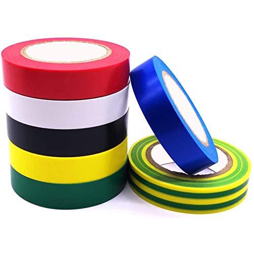 ビニール電気テープ 脱鉛タイプ粘着力 強い絶縁テープ ハーネステープ 耐熱 テープ 16mm x 20m x0.13mm7個入り電気絶縁テープ
