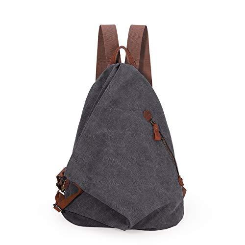 Retro Segeltuch Rucksack Canvas Vintage Rucksäcke Echtleder Daypack Reisetasche Schulterrucksack für Herren Damen (6882-Dunkelgrau)