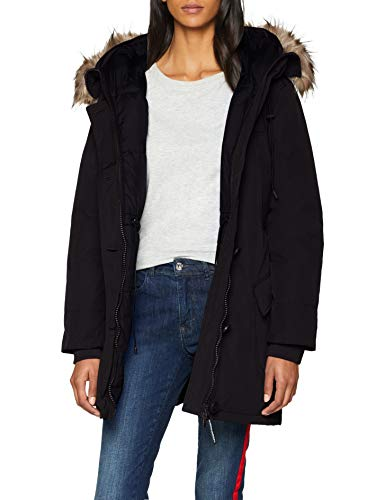 Superdry Womens Rookie DOWN Parka Fur Coat, Black, L (Herstellergröße:14)