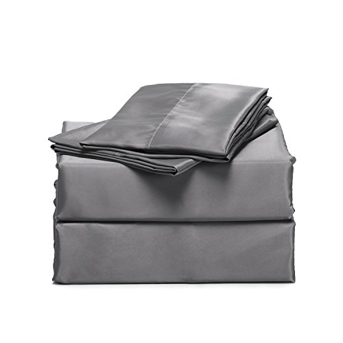 Bedsure 4-Pieces Satin Bed Sheet Set Queen Dark Gray Smooth and Silky...