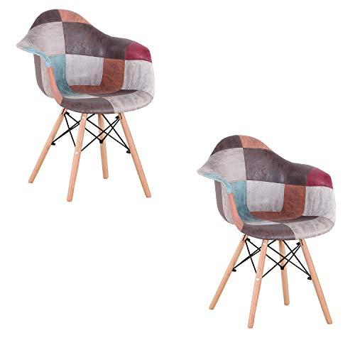 INJOY LIFE Esszimmerstühle 2er Set Mid Century Modern Küche Stuhl Sessel Multicolor Loungesessel für Zuhause Esszimmer Küche Wohnzimmer Seitenstühle