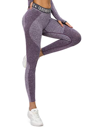 QUEENIEKE Damen Sports Hose Seamless Fitness Leggings Body Shaping für Gym Training Tights(0/2, violett)