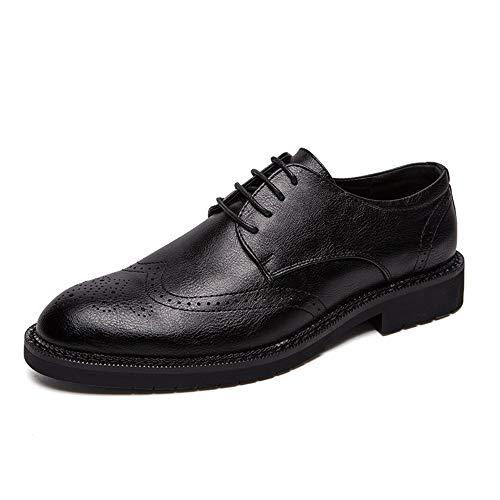 Zapatos de cuero para hombres Zapatos de Brogue para los hombres Wingtip Oxfords Casual encaje vestido zapatos de cuero Stave superior Toe WhippersNapper zapatos para caminar transpirables Primavera