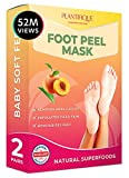 Dermatologically Tested - Peach Foot Peel Mask - 2 Pairs - Effective For Cracked Heels Repair, Remove Dead Skin, Callus & Dry Toe Skin - Baby Soft Feet - Exfoliating Peeling Natural Treatment