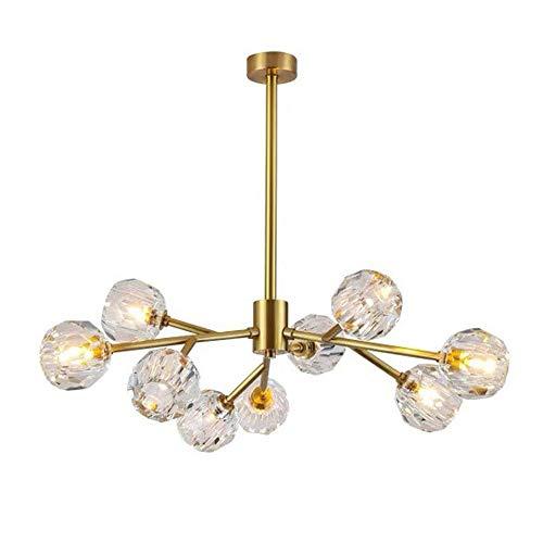 CHENJIA Cristal de oro moderna rama creativos forman G9 Fuente de Luz Salón Dormitorio Comedor Decoración araña de cristal de la lámpara de techo 9 80x55cm lámpara de luz de sombra