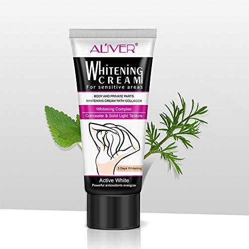 60 ml Aligeramiento de la piel Bajo el brazo Parte privada Blanqueamiento Labio Rosado Pezón Cara Color del cuerpo Desvanecimiento Producto Intimate Bleaching Cream