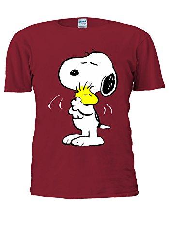 Snoopy Peanuts - Camiseta unisex graciosa y alegre con dibujos animados para hombre y mujer Rojo .Cardenal Rojo M