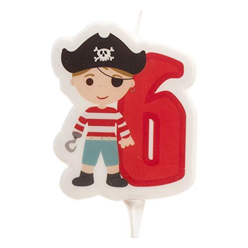 Dekora - Vela de Cumpleaños 2D de Pirata para Tartas Infantiles - Numero 6