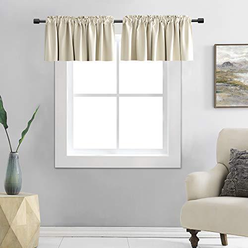 DONREN Cream Beige Curtain Valances for Kitchen 42 x 15 Inches Long Room Darkening Rod Pocket Valances (2 Panels)
