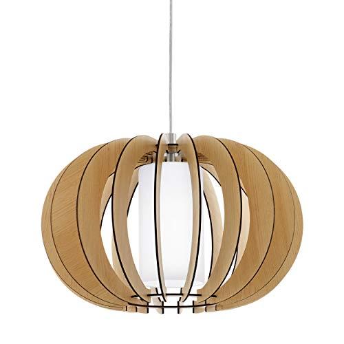 Eglo Stellato 1 Lampe suspension vintage en acier, bois et verre en nickel mat, érable, blanc, lampe de table suspendue avec culot E27, Ø 40 cm