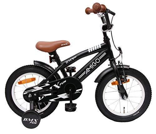 AMIGO BMX Fun - Kinderfahrrad für Jungen - 14 Zoll - mit Handbremse, Rücktritt, Lenkerpolster und Stützräder - ab 3-4 Jahre - Schwarz