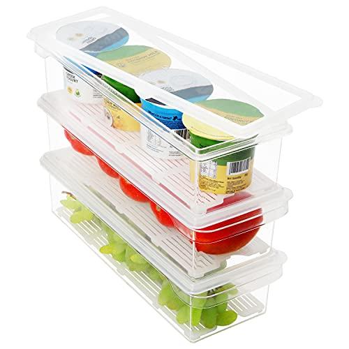 Kurtzy Plastic Fridge Storage Organiser Bins with Lids (3 Pack) - Clear BPA Free, Stackable...