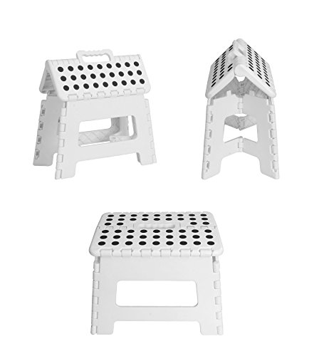 Utopia Home Foldable Step Stool - 11 Inches Wide and 8 Inches Tall - Holds Up to 300 lbs - Lightweight Plastic Design (White, Pack of 1)
