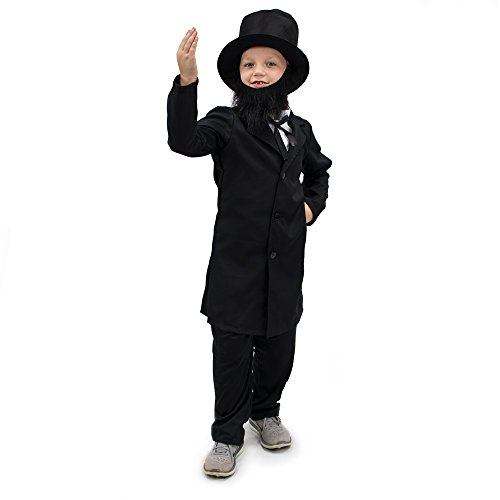 Honest Abe Lincoln Children's Boy Halloween Dress Up Theme Party Roleplay & Cosplay Costume (Youth Medium (5-6)) Black
