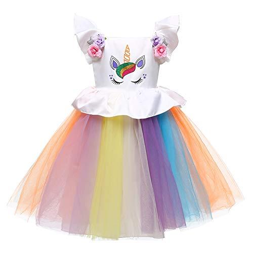 LZH Baby Mädchen Einhorn Kleid Geburtstag Festzug Prinzessin Tutu Kostüme Regenbogen Ankleiden