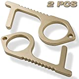 No Contact Door Opener Tool/Clean Key & Hands Free Button Pusher Keychain Made from Brass (Copper +Alloy) – a Safe EDC Smart Key Holder Organizer/No Touch &Safe Touch Germ Key (2 pcs)