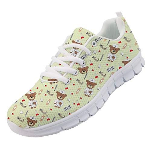 chaqlin Damensneaker Flats Lässige Running Walking Schnürschuhe mit Cartoon Krankenschwester Bär Muster Sneakers YellowEU41