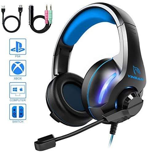 YINSAN Xbox One Headset, Gaming Headset PS4 Headset Surround Stereo Gaming Kopfhörer mit Mikrofon und LED Licht, kompatibel mit PC / PS4 / Xbox One/Switch (USB Verlängerungskabel enthalten), Blau