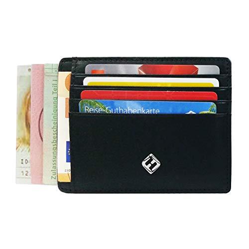 FreeHaveFun® RFID Blocker Kartenetui Leder schwarz | Kartenhalter klein, Mini Geldbörse Slim, Minimalist Wallet, Herren Kreditkartenhalter, Damen Kreditkartenetui, NFC Schutz, Portemonnaie Brieftasche