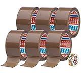 TESA 6 rollos de cinta adhesiva marrón 64014 – 50 mm x 66 m – cinta adhesiva de embalaje silenciosa + cinta adhesiva gratis [15 mm x 10 m]