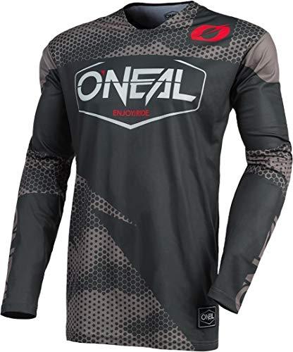 O'NEAL Jersey | Enduro Moto | Material de secado rápido y ligero rendimiento, diseño sin cuello, ajuste atlético, jersey Mayhem Covert | Adultos | gris carbón, talla XXL