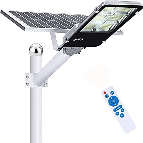 LEDMO 360W Lampione Solare LED Esterno con Pannello Solare,Lampione Solare 6500K Bianco Freddo,Lampione Solare da Esterno con 40000mAh, 360LEDs,Telecomando, IP65 Impermeabile