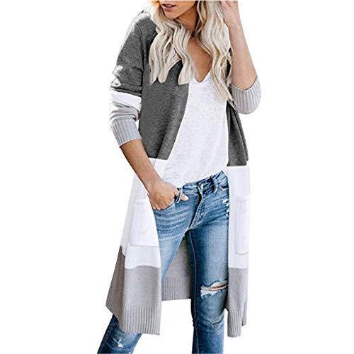 masrin Strickjacke-Damen-Oberseiten-Art- und Weiselange Hülsen-gestreifte Outwear beiläufige gestrickte Strickjacke-Mantel-Bluse(M,Grau)