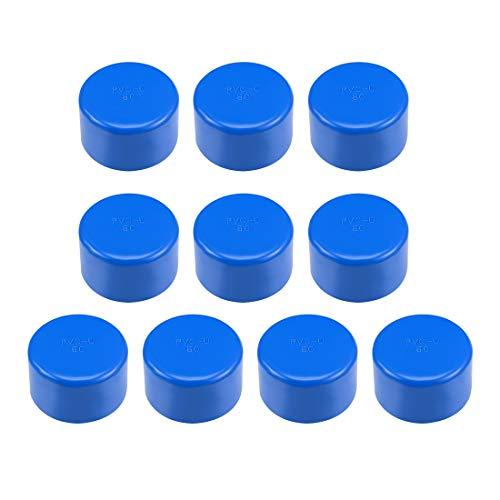 sourcing map - Tapa de tubo de PVC (50 mm, 50 mm, tapón de desagüe DWV(drenaje de residuos), color azul