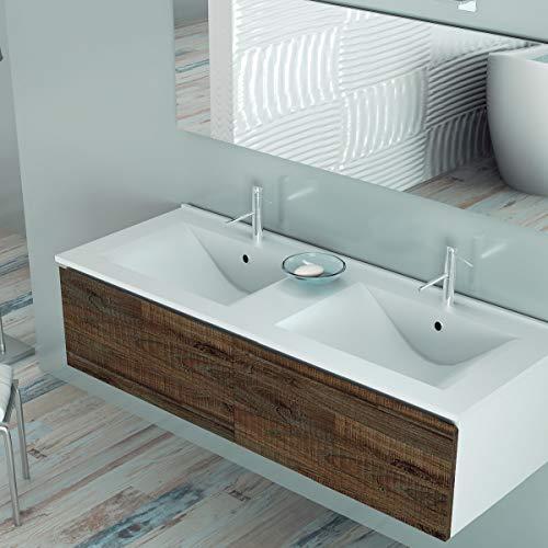 Aquareforma | Lavabo Cerámico Fondo 46 cm 2 Senos | Lavabo Cerámico Acabado en Blanco Brillo | Grosor 2 Cm | Medida 120 cm