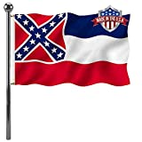Mississippi Ms State Flag 3x5 Ft Outdoor- UV Fade Resistant State of Mississippi Ms Flags- Heavy Duty Canvas Head State Flag of Ms Mississippi with 2 Brass Grommets