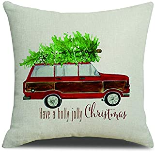 FAZHISHUN Christmas Decorations for Home Have a Holly Jolly Christmas Tree and Red Car Cotton Linen Throw Pillow Covers Cushion Covers for Sofa Couch,18