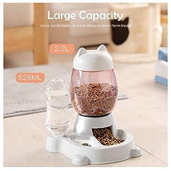 Deng Xuna Distributeur Eau et croquettes Automatique pour Chien et Chat Mangeoires pour Animaux (Bouteille d'eau 528ml, Baril de Grain 2.2L) (Gris)