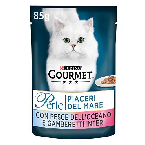 Purina Gourmet Perle Umido Gatto Piaceri del Mare con Pesce dell'Oceano e Gamberetti Interi, 24 Buste da 85 g Ciascuna, Confezione da 24 x 85 g