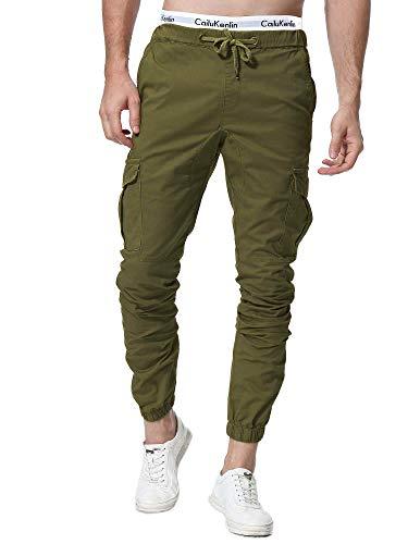 ZOEREA Pantalones Hombre Casuales Deporte Elásticos Joggers Largos Pants con Bolsillos Algodón Slim Fit Cargo Trouser de Hombres (Verde#1, M)