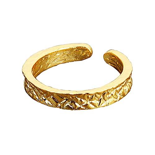Chengxun Anillo ajustable cóncavo-convexo irregular con apertura de lámina de oro, hecho a mano, patrón de golpiza, regalo para mujeres