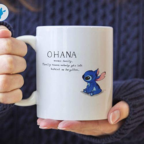 Rael Esthe Ohana bedeutet Familienkaffeetasse, Lilo und Stichbecher, Disney Stitch Keramikbecher Tasse