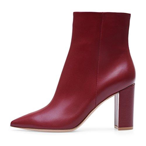 ELASHE Botas Altas de Mujer   8cm Zapatos de tacón   Botines de Tacón Ancho Botas con Cremallera