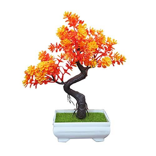 Bismarckbeer Künstlicher Bonsai für den Schreibtisch, Ornament für Zuhause, Büro, Garten, als Dekoration und Geschenk, plastik, Orange, Einheitsgröße