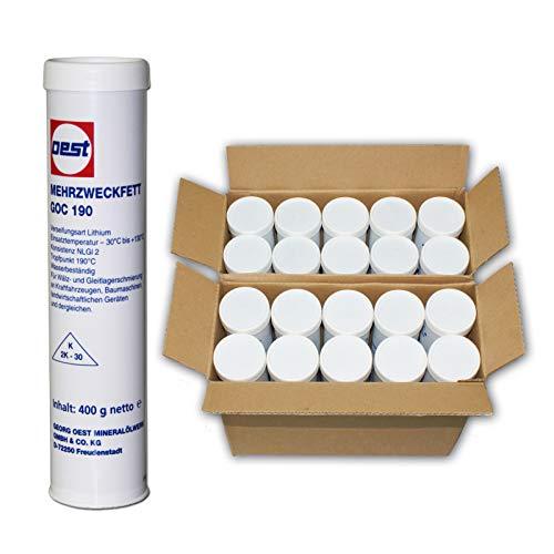 20 Stück Kartuschen Schmierfett à 400 ml für Fettpresse Hebelpresse Mehrzweckfett GOC 190, Lithium