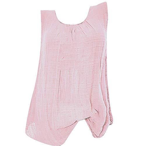 VJGOAL Camiseta sin Mangas para Mujer Camisetas de Tirantes Verano Casual Moda Color sólido Cuello Redondo Algodón Lino Tank Tops Tallas Grandes Blusa Suelta