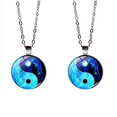 SaiDian 2 Pcs Fashion Yin Yang Necklaces Glass Pendant Dragon Moon Pattern Chakra Pendants Silver Cabochon Glass Necklace Sweater Long Chain