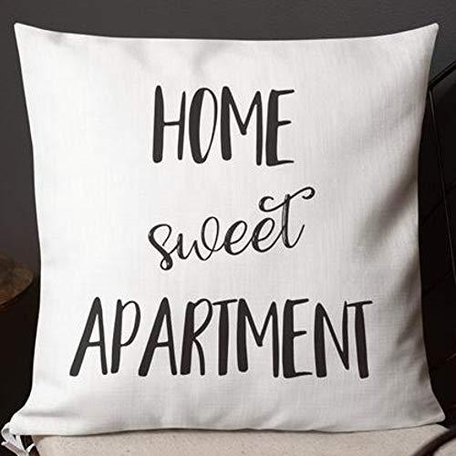 Home Sweet - Funda de Almohada para apartamento, diseño Divertido, se Puede Lavar a máquina, Cremallera Invisible de Dos Lados, Color c