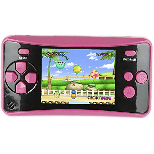 """HigoKids Portable Handheld Games for Kids 2.5"""" LCD Screen Game Console TV Output Arcade Gaming Player System Built in 182 Classic Retro Video Games Birthday for Your Boys Girls (Rose Red)"""