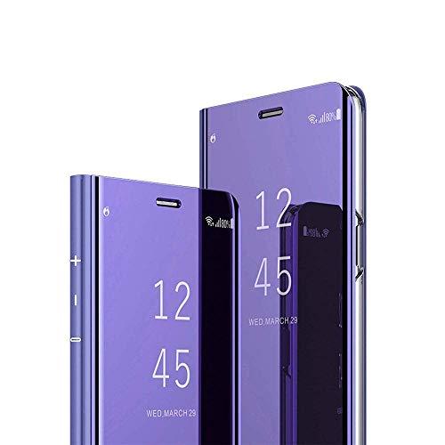 C-Super Mall Funda para iPhone SE 2020, Smart Flip View Clear View Translúcido Cubierta de pie con espejo chapado en espejo soporte de cuerpo completo protección 360°, violeta