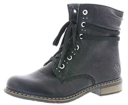Rieker Damen Stiefeletten 71218, Frauen Schnürstiefelette, Winterstiefel Damen Frauen weibliche Ladies feminin elegant,schwarz,37 EU / 4 UK