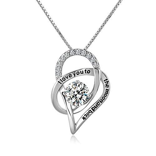 Poetic Charms Ich liebe dich bis zum Mond und zurück 925 Sterling Silber Love Herz Anhänger Halskette Damen Mädchen 45+5cm Verlängerungskette